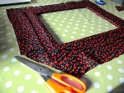 How to make a table mirror. Mirror Revamp   Fabric Covered Frame - Step 4