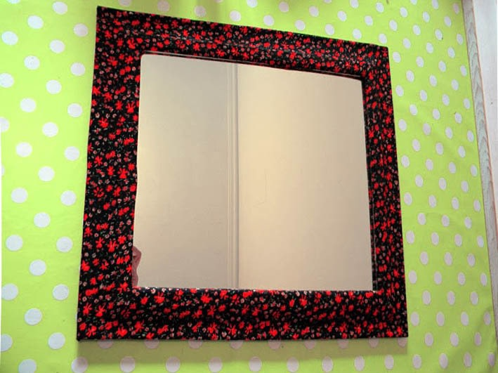 Mirror revamp fabric covered frame how to make a table for Fabric picture frames