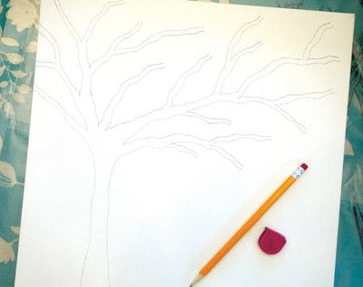 How to make a collages. Watercolor Butterfly Tree - Step 1