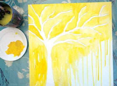 How to make a collages. Watercolor Butterfly Tree - Step 2