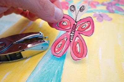 How to make a collages. Watercolor Butterfly Tree - Step 6