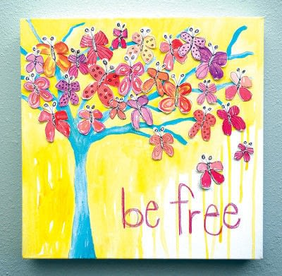 How to make a collages. Watercolor Butterfly Tree - Step 8