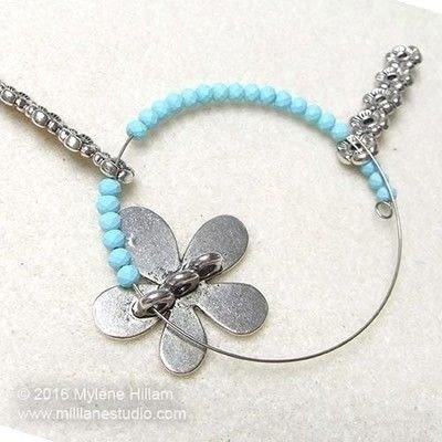How to make a wire beaded bracelet. Pastel Flower Bracelet - Step 7