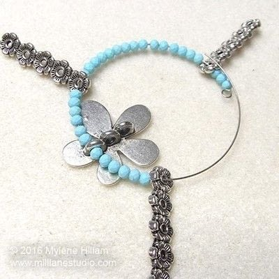 How to make a wire beaded bracelet. Pastel Flower Bracelet - Step 8