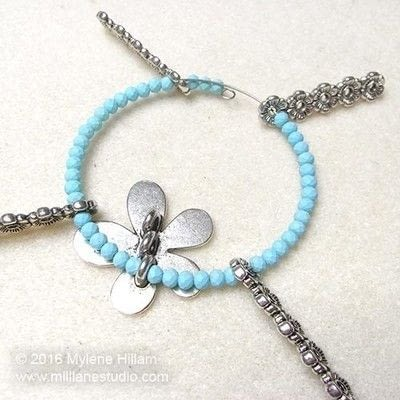 How to make a wire beaded bracelet. Pastel Flower Bracelet - Step 9