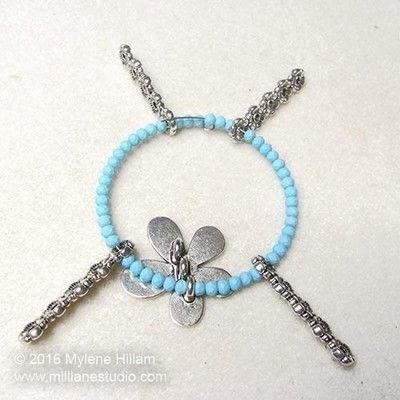 How to make a wire beaded bracelet. Pastel Flower Bracelet - Step 10