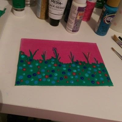 How to make a mixed media. Mixed Media Art ~ Flower Field - Step 3