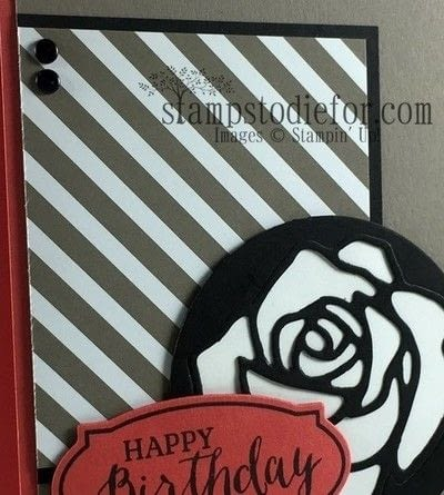 How to make a stamped card. Rose Wonder Happy Birthday Card - Step 2
