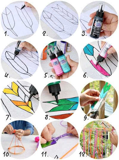 How to make a mobile. Faux Stained Glass Feathers - Step 2