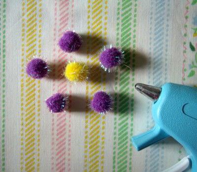 How to make a clip-on earring. Daisy Pom Pom Earrings - Step 5