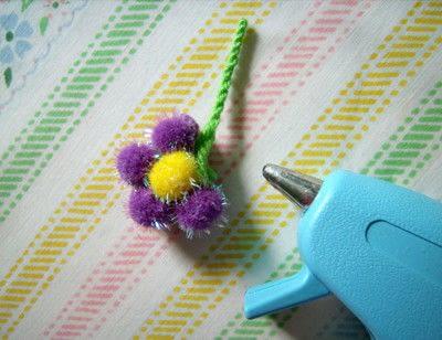 How to make a clip-on earring. Daisy Pom Pom Earrings - Step 6