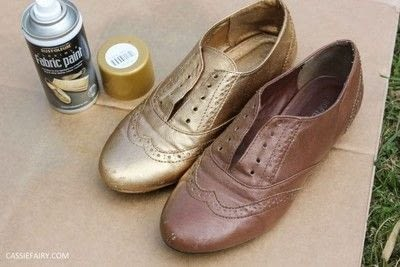 How to revamp a pair of revamped shoes. DIY Black & Gold Brogues - Step 1