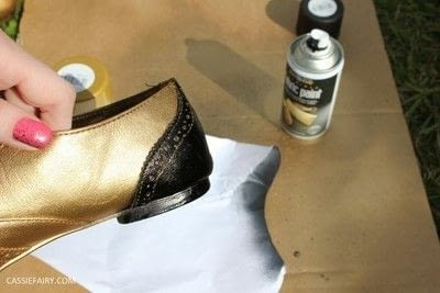 How to revamp a pair of revamped shoes. DIY Black & Gold Brogues - Step 4