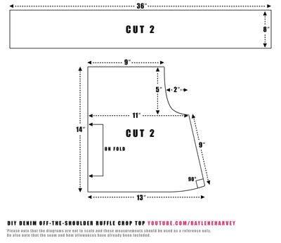 How to make an off-shoulder top. Denim Off The Shoulder Ruffle Crop Top - Step 1