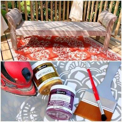 How to make a bench. Boho Bench Makeover - Step 2