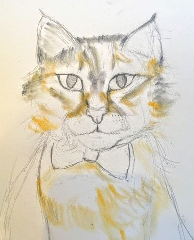 How to draw a pastel drawing. Pastel Cat - Step 20