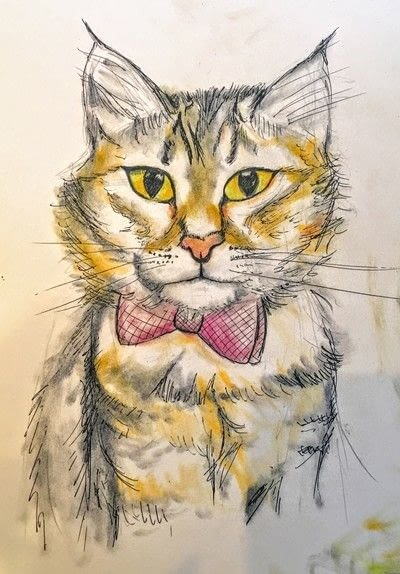 How to draw a pastel drawing. Pastel Cat - Step 25