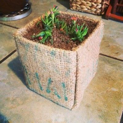 How to paint a painted flower pot. Burlap Milk Carton Planter - Step 8