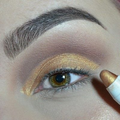 How to create a cut crease eye makeup look. Cut Crease with gold & brown shades! - Step 4