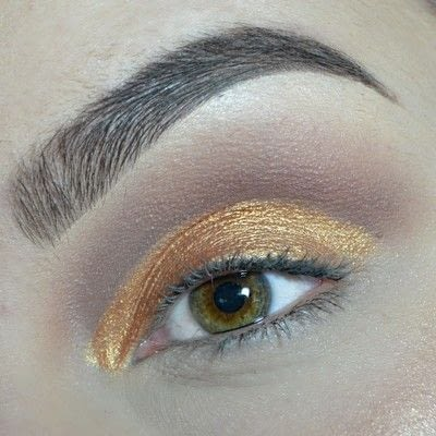 How to create a cut crease eye makeup look. Cut Crease with gold & brown shades! - Step 5