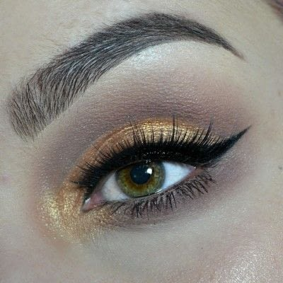 How to create a cut crease eye makeup look. Cut Crease with gold & brown shades! - Step 7