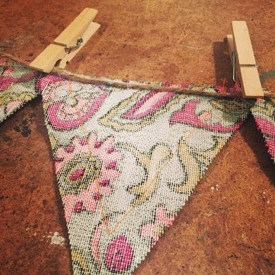 How to make bunting. Upcycled Fabric And Burlap Bunting - Step 5
