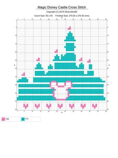 How to cross stitch . Magical Disney Castle Cross Stitch - Step 1