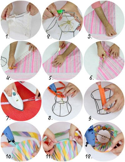 How to make a lamp / lampshade. No Sew Pleated Lampshades - Step 3