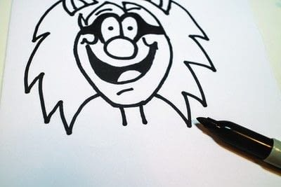 How to draw & paint a piece of character art. Beano Style Crafterella - Step 17