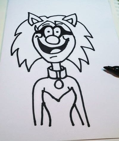 How to draw & paint a piece of character art. Beano Style Crafterella - Step 20