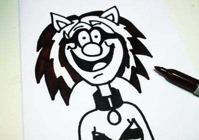 How to draw & paint a piece of character art. Beano Style Crafterella - Step 23