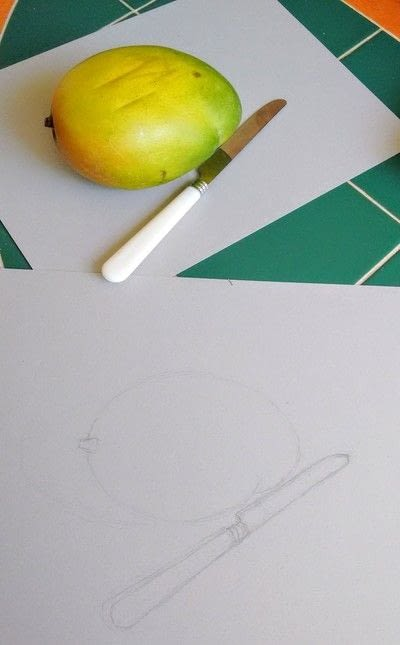 How to draw a pastel drawing. Avocado Drawing - Step 3