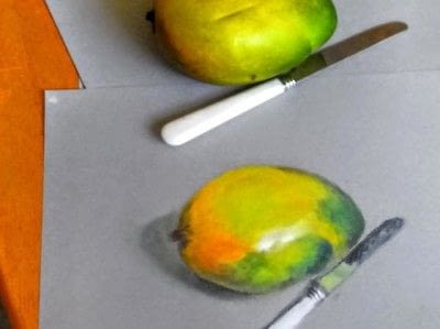 How to draw a pastel drawing. Avocado Drawing - Step 11