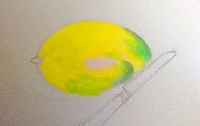 How to draw a pastel drawing. Avocado Drawing - Step 6