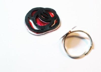 How to make a plastic ring. Stained Glass Rose Ring - Step 12