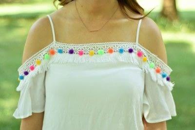 How to make an embellished dress. Diy Pom Pom Dress  - Step 2