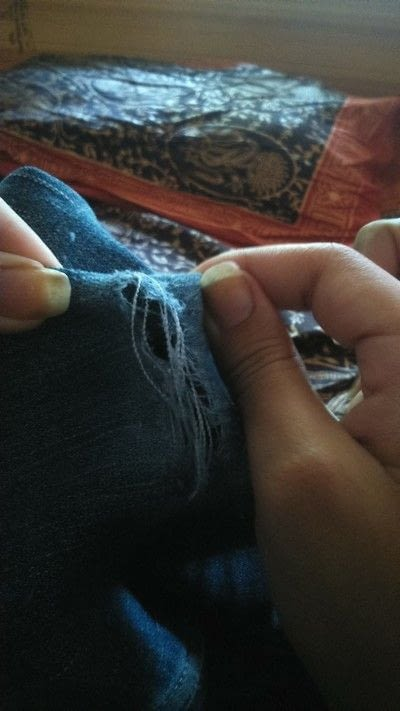 How to make a pair of denim shorts. Diy Rugged Shorts - Step 5