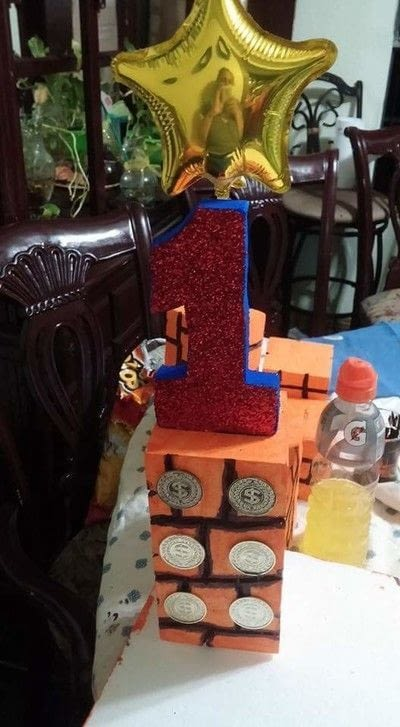 How to make a table centerpiec. Super Mario Birthday Party Centerpiece  - Step 2