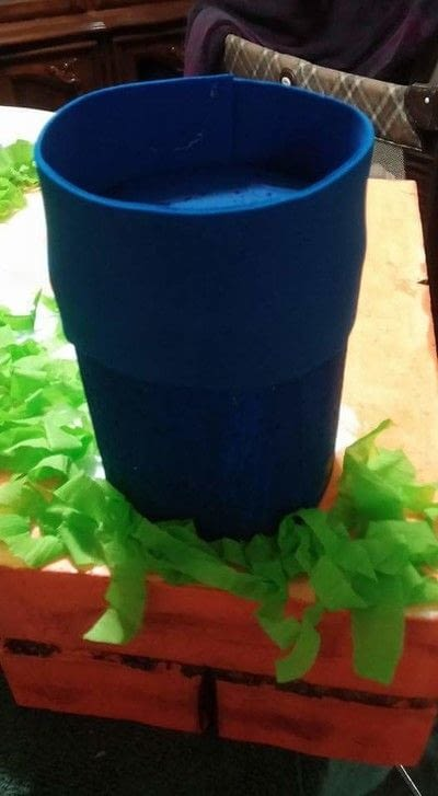 How to make a table centerpiec. Super Mario Birthday Party Centerpiece  - Step 3