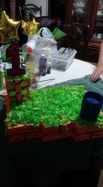 How to make a table centerpiec. Super Mario Birthday Party Centerpiece  - Step 4