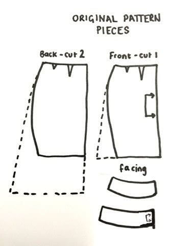 How to sew a hand sewn skirt. Faux Wrap Skirt Pattern Hack - Step 1