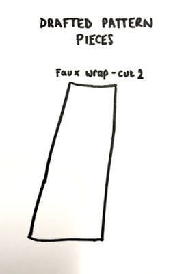 How to sew a hand sewn skirt. Faux Wrap Skirt Pattern Hack - Step 2