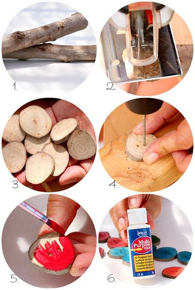 How to make a wooden branch button. Make Your Own Buttons - Step 3
