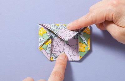How to fold an origami box. Fusenbako Balloon Box - Step 11
