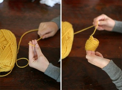 How to make a book end. Yarn Ball Bookmark - Step 1