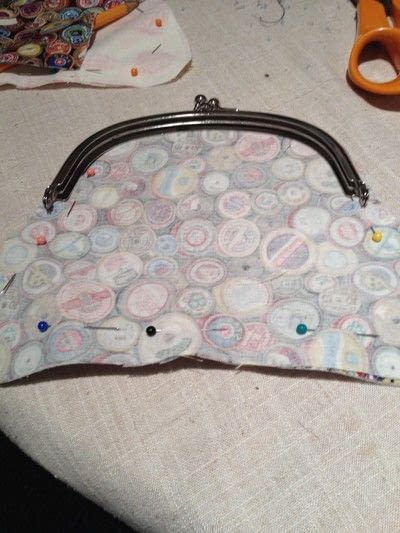 How to make a clutch. Self Drafted Clip Frame Purse! - Step 7