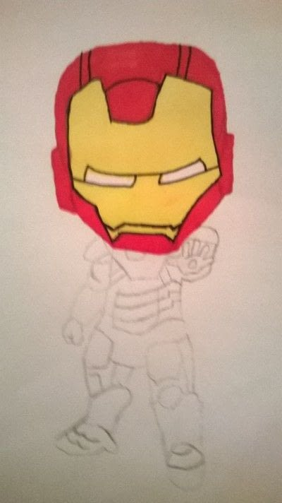 How to make a misc. Iron Man Drawing  - Step 2