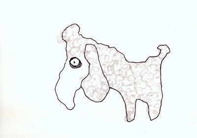 How to draw an animal drawing. Layered Poodle - Step 2