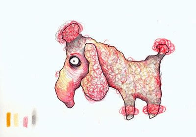 How to draw an animal drawing. Layered Poodle - Step 6