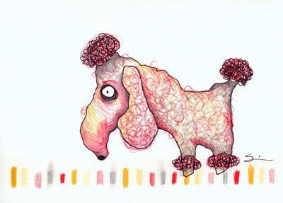 How to draw an animal drawing. Layered Poodle - Step 7